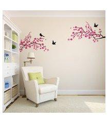 adesivo de parede entardecer flores e passaros