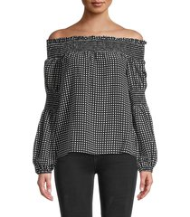 l'agence women's off-the-shoulder silk top - black ivory - size xs