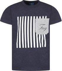 fay blue boy t-shirt with logo