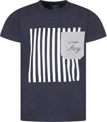 fay blue boy t-shirt with logo