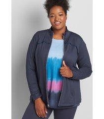 lane bryant women's livi pleat-trim jacket with wicking - spacedye 10/12 blue nights
