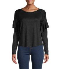 bailey 44 women's ruffled long-sleeve top - black - size l