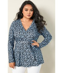 talla grande leopardo con cuello en v cinturón diseño abrigo diseño blusa de manga larga
