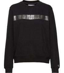 metallic stripe logo cn sweat-shirt tröja svart calvin klein jeans