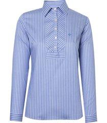 camisa dudalina manga longa tricoline fio tinto detalhe feminina (listrado, 46)