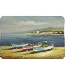 boats on the beach memory foam rug bedding