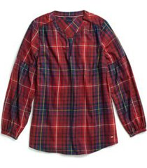 tommy hilfiger women's adaptive plaid popover tunic rhododendron/multi - m