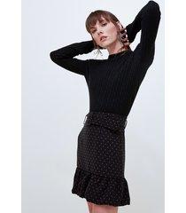 motivi maglia a trecce misto lana donna nero