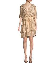 glitter rain tiered wrap dress