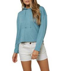 women's o'neill stripe knit hoodie, size xx-large - blue