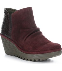 women's fly london yamy wedge bootie, size 7-7.5us - burgundy