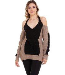 suéter kinara tricot mousse ombro de fora feminino