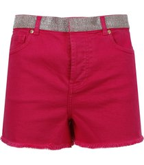 crystal belt denim shorts, red