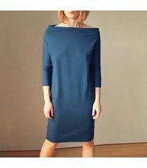 sukienka dresowa szeroki dekolt granat/jeans