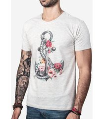 camiseta hermoso compadre flower anchor masculina