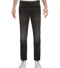 jeans bleecker elásticos ajustados negro tommy hilfiger