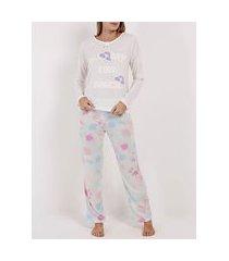 pijama longo feminino off white/azul