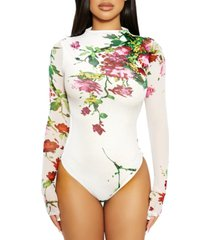 the nw mesh floral-print bodysuit