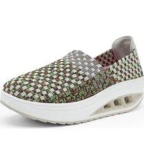 zapatos tejidos mujer zapatos plataforma de cuña malla oscilante zapatos