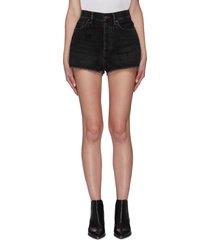 vintage black wash raw hem mini denim shorts