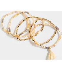samara beaded tassel bracelet set - taupe