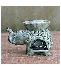 ceramic oil warmer, 'fragrant elephant' (thailand)