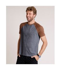 camiseta masculina básica raglan manga curta gola careca cinza mescla escuro