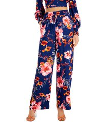 bar iii printed tie-front wide-leg pull-on pants, created for macy's