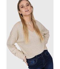 sweater natural nano lurex cuello v pq41