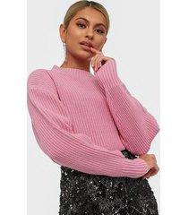 selected femme slfbailey ls knit slit o-neck b stickade tröjor