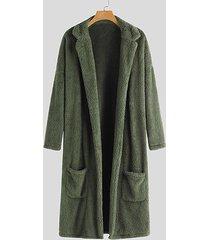 incerun abrigo de solapa de piel mullida de lana cálida de invierno para hombre cuello