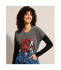camiseta de algodão cruella metalizada manga curta decote redondo chumbo