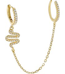 women's adina's jewels pave snake ear cuff & huggie earring