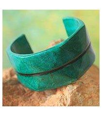 leather cuff bracelet, 'wend konta in mint' (ghana)