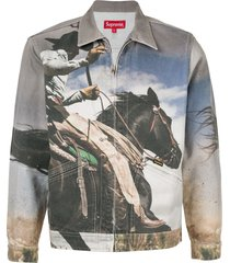 supreme cowboy-print denim work jacket - grey