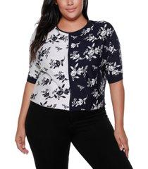 belldini black label plus size boat neck floral color blocked sweater