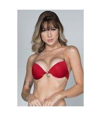 soutien bella fiore modas alça de silicone e bojo vermelho