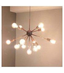 lustre pendente moderno sputnik cobre - 13 lâmpadas (náo inclusas)