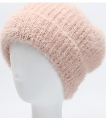 beanie di visone caldo per le donne di inverno caldo berretto di visone per orlo arrotolato elastico