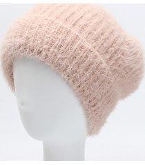 beanie di visone caldo per le donne invernali caldo berretto di visone per orecchiette elastico