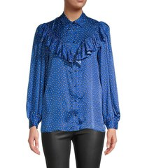 maje women's paisley-print ruffled shirt - blue - size 1 (s)