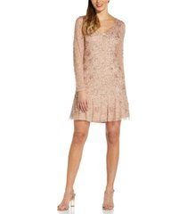 adrianna papell petite long-sleeve beaded fit & flare dress