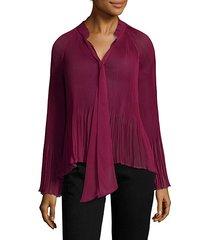 long-sleeve pleated blouse