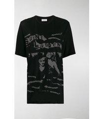 saint laurent jacquard logo crew neck t-shirt