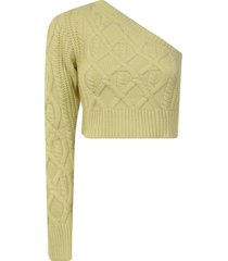 wandering single shoulder knitted sweater