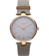 orologio cinturino pelle beige con catenina, cassa acciaio oro per donna