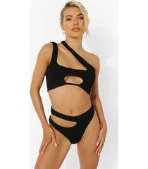 hoog uitgesneden geribbeld bikini broekje met uitsnijding en textuur, black