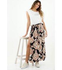 falda de mujer, silueta amplia, con diseño maxi y estampado floral full cobertura