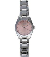 belleville orologio in acciaio silver con quadrante rosa per donna