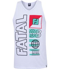 camiseta regata fatal estampada 25677 - masculina - branco